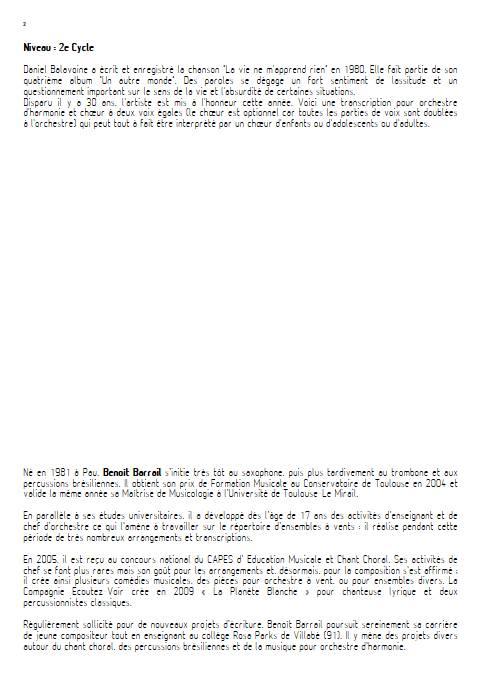 La vie ne m'apprend rien - Orchestre d'Harmonie - BALAVOINE D. - Educationnal sheet