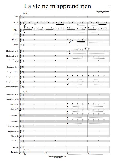 La vie ne m'apprend rien - Orchestre d'Harmonie - BALAVOINE D. - app.scorescoreTitle