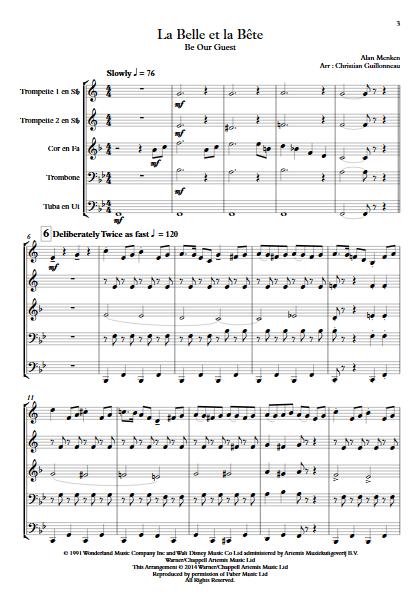 La Belle et le Bête (C'est la Fête) - Quintette de Cuivres - MENKEN A. - app.scorescoreTitle