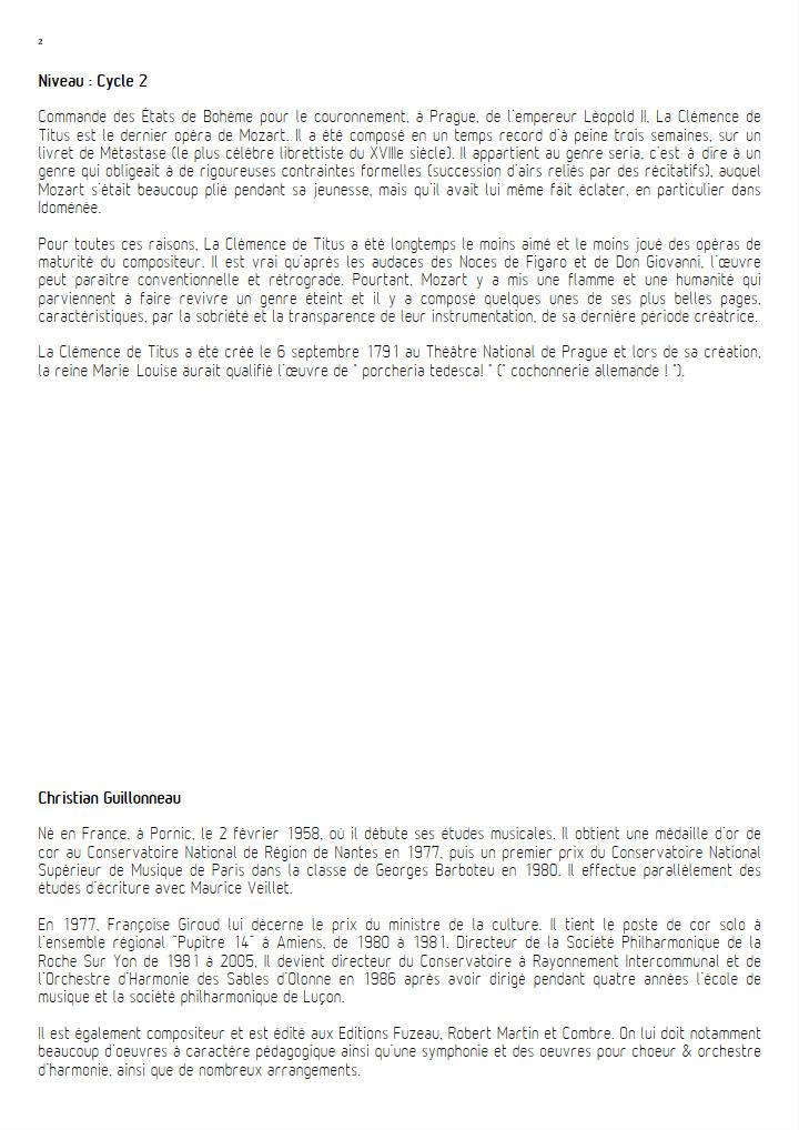 La Clémence de Titus - Orchestre d'harmonie - GUILLONNEAU C. - Educationnal sheet