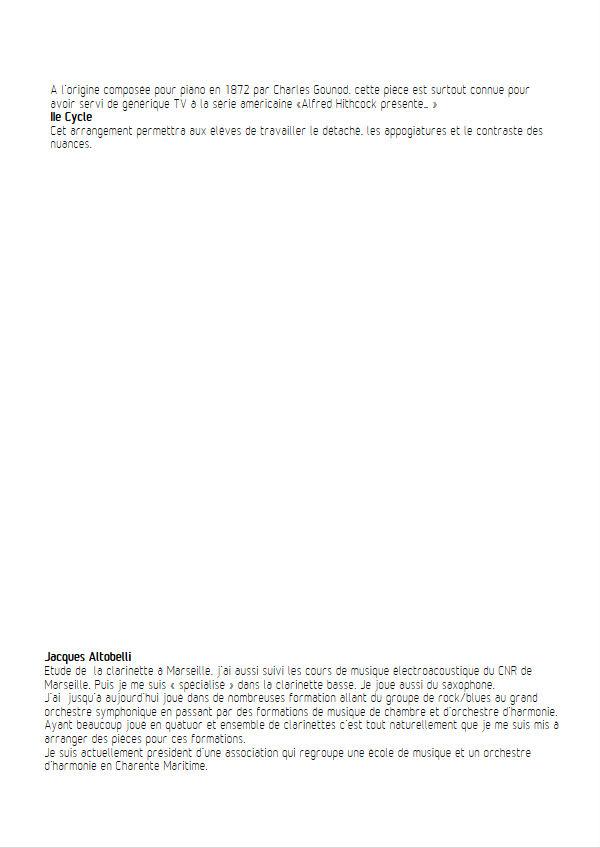 La marche funèbre de la Marionette - Quatuor Clarinettes - GOUNOD C. - Educationnal sheet