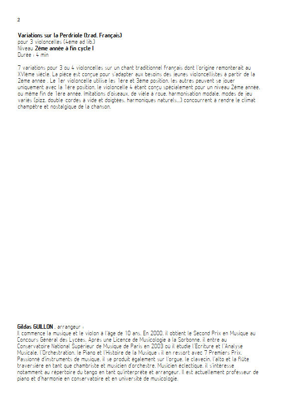 La Perdriole - Trio ou Quatuor Violoncelles - TRADITIONNEL - Educationnal sheet