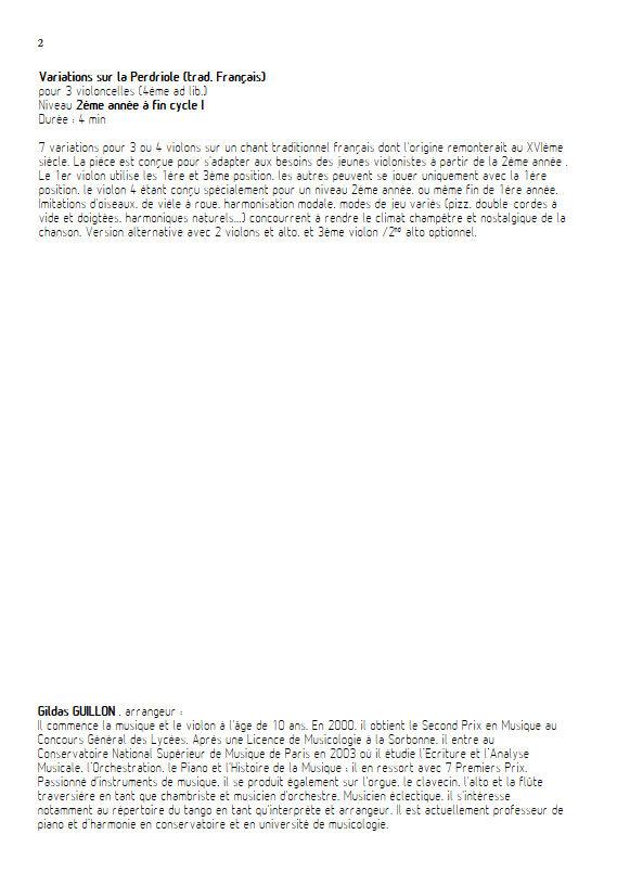 La Perdriole - Trio ou Quatuor Violons - TRADITIONNEL - Educationnal sheet
