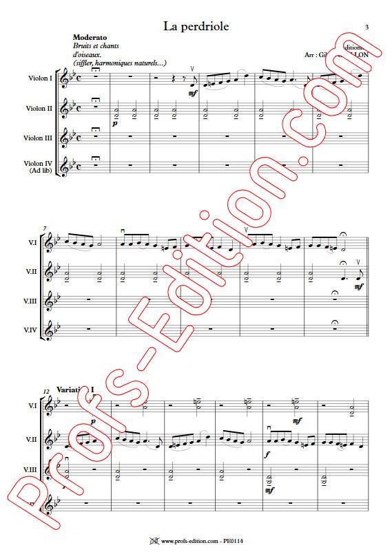 La Perdriole - Trio ou Quatuor Violons - TRADITIONNEL - app.scorescoreTitle