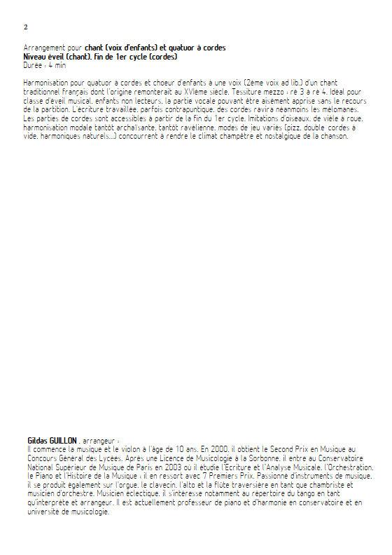La Perdriole - Quatuor à cordes & Voix - TRADITIONNEL - Educationnal sheet