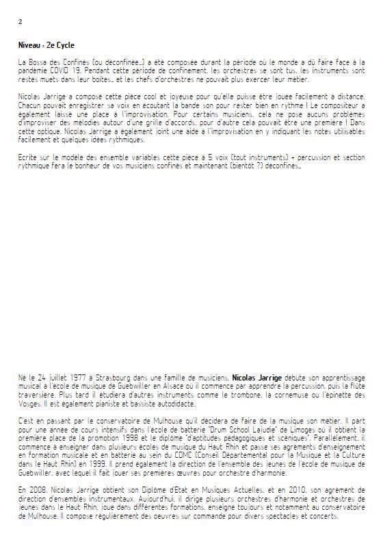 La Bossa des Confinés - Ensemble Variable - JARRIGE N. - Educationnal sheet
