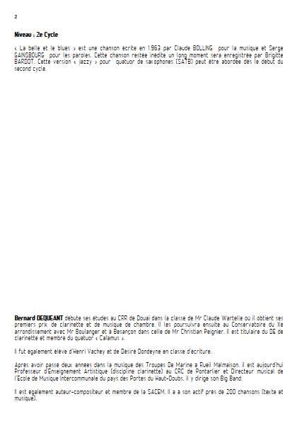 La Belle et le Blues - Quatuor de Saxophones - BOLLING C. - Educationnal sheet