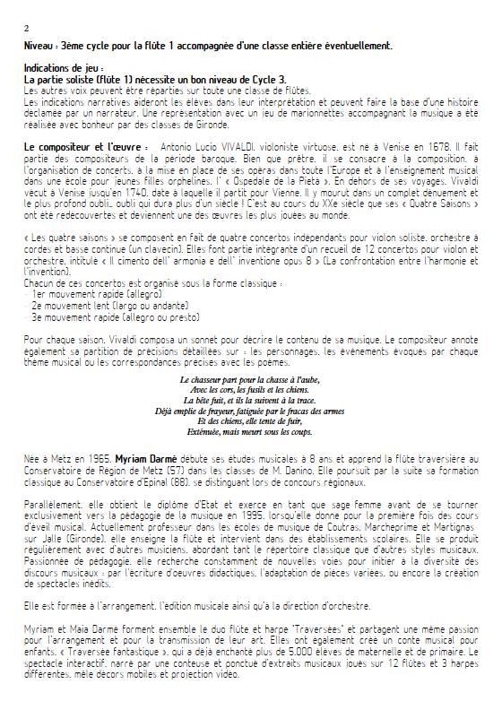 La Chasse - Ensemble de Flûtes - VIVALDI A. - Educationnal sheet