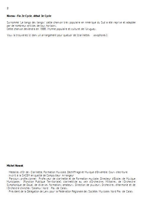 La Cumparsita - Quatuor de Clarinettes - RODRIGUEZ G. M. - Educationnal sheet