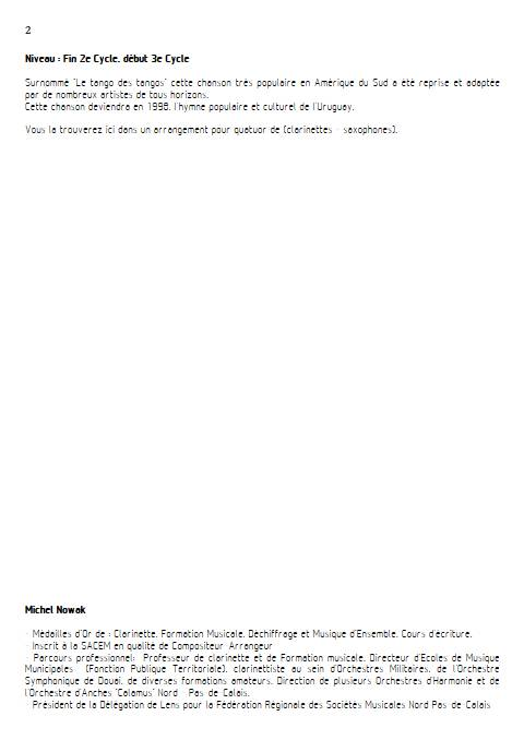 La Cumparsita - Quatuor de Saxophones - RODRIGUEZ G. M. - Educationnal sheet