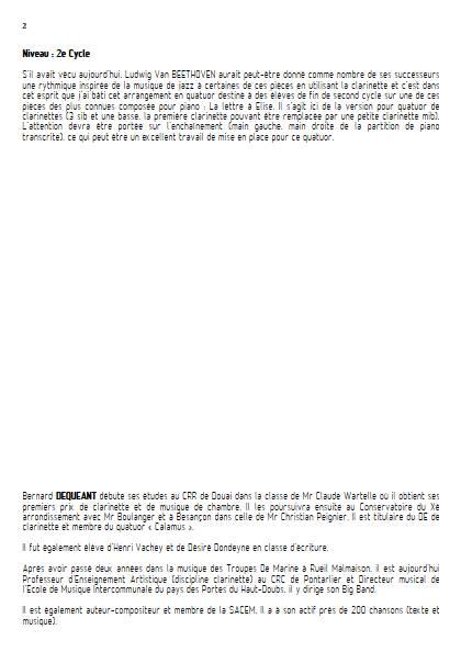 La lettre à Elise - Quatuor de Clarinettes - BEETHOVEN L. V. - Educationnal sheet