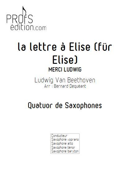 La lettre à Elise - Quatuor de Saxophones - BEETHOVEN L. V. - front page