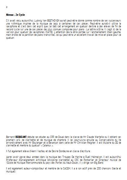 La lettre à Elise - Quatuor de Saxophones - BEETHOVEN L. V. - Educationnal sheet