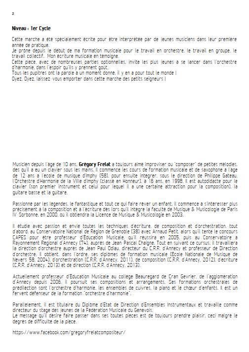 La marche des petits seigneurs - Orchestre d'Harmonie - FRELAT G. - Educationnal sheet