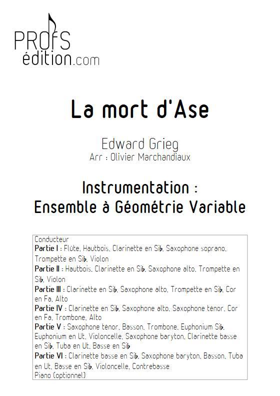 La mort d'Ase - Esemble Variable - GRIEG E. - front page