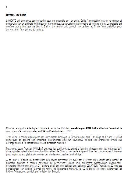Lamento - Ensemble Variable - PAULEAT J. F. - Educationnal sheet