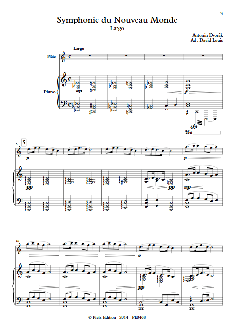 Symphonie du Nouveau Monde (Largo) - Flûte et Piano - DVORAK A. - app.scorescoreTitle