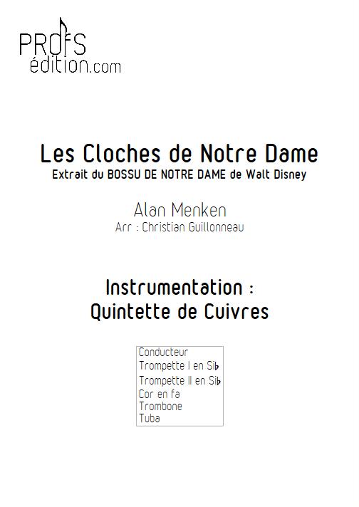 Le Bossu de Notre Dame - Quintette de Cuivres - MENKEN A. - front page