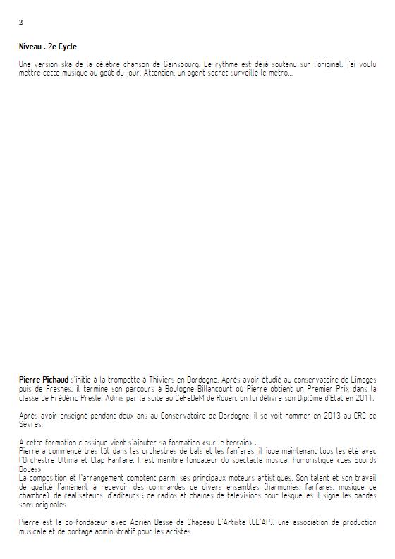 Le Poinçonneur des Lilas - Fanfare - GAINSBOURG S. - Educationnal sheet