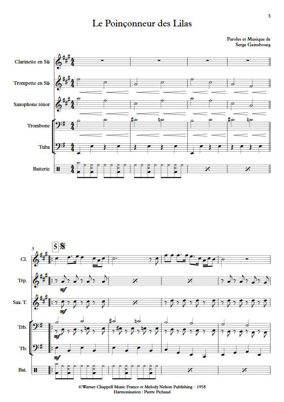 Le Poinçonneur des Lilas - Fanfare - GAINSBOURG S. - app.scorescoreTitle