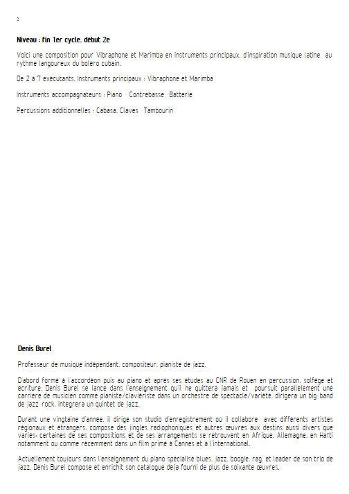 Le Beau Lérot Cubain - Ensemble de Percussions - BUREL D. - Educationnal sheet