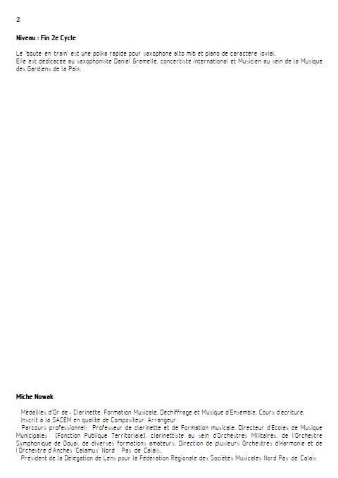 Le Boute-en-train - Saxophone & Piano - NOWAK M. - Educationnal sheet