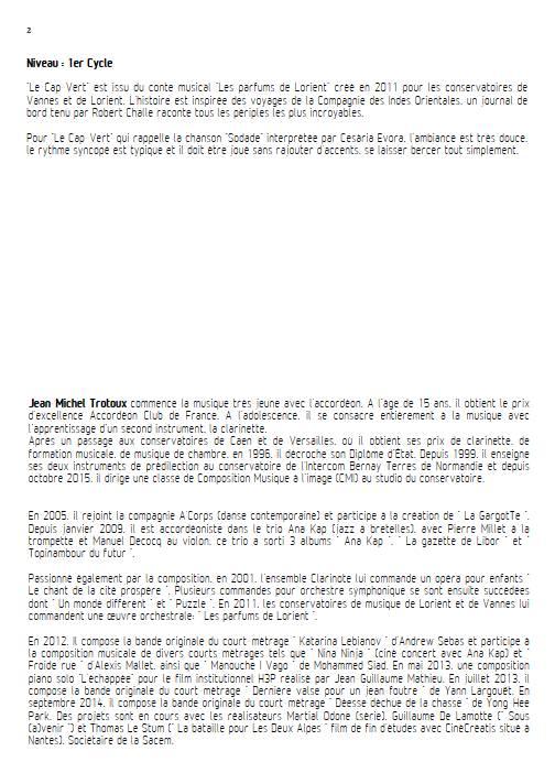 Le Cap-Vert - Ensemble de Clarinettes - TROTOUX J-M. - Educationnal sheet