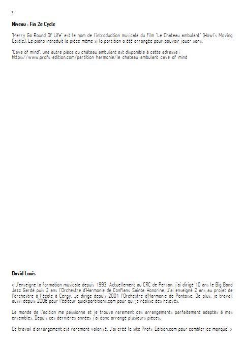 Merry go round of life (Le chateau ambulant) - Orchestre d'Harmonie - HISAISHI J. - Educationnal sheet
