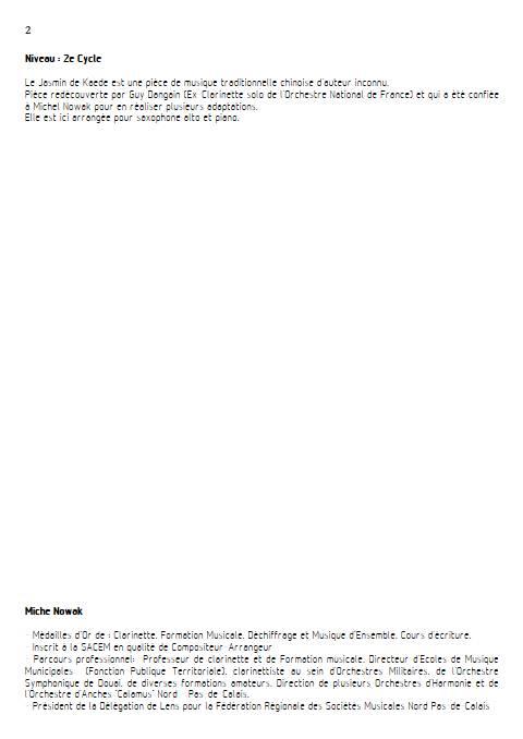 Le Jasmin de Kaede - Saxophone Piano - ANONYME - Educationnal sheet