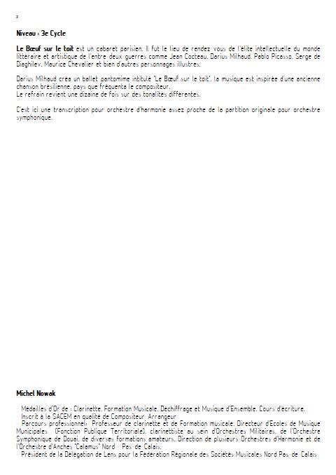 Le bœuf sur le toit - Orchestre d'Harmonie - MILHAUD D. - Educationnal sheet