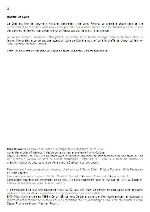Le Chat - Chœur et Piano - NISSIM M. - Educationnal sheet