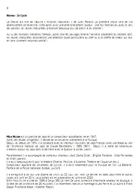 Le Cheval - Chœur et Piano - NISSIM M. - Educationnal sheet