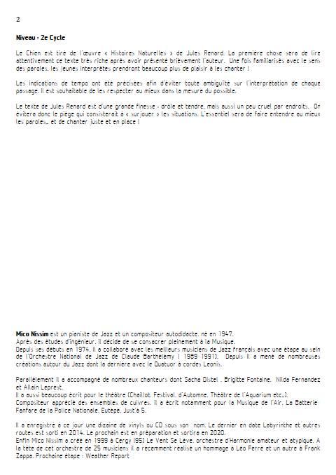 Le Chien - Chœur et Piano - NISSIM M. - Educationnal sheet