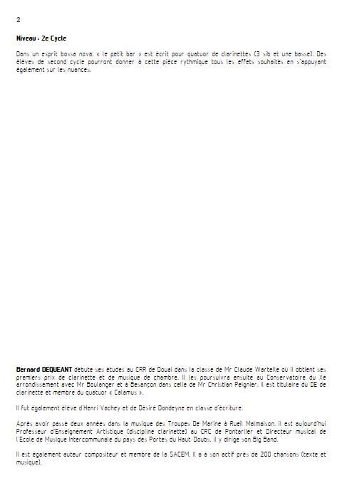 Le petit bar - Quatuor de Clarinettes - DEQUEANT B. - Educationnal sheet