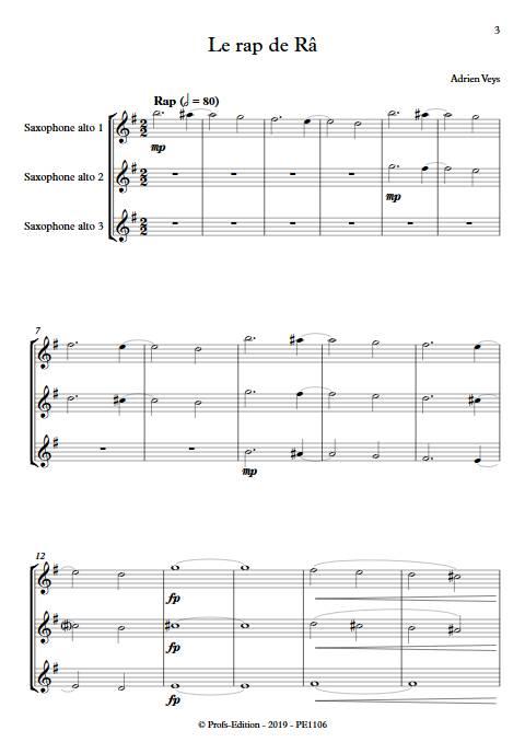 Le rap de Râ - Trio de Saxophones - VEYS A. - app.scorescoreTitle