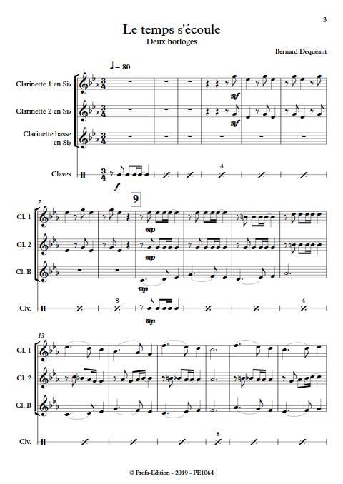 Le temps s'écoule - Trio de Clarinettes - DEQUEANT B. - app.scorescoreTitle