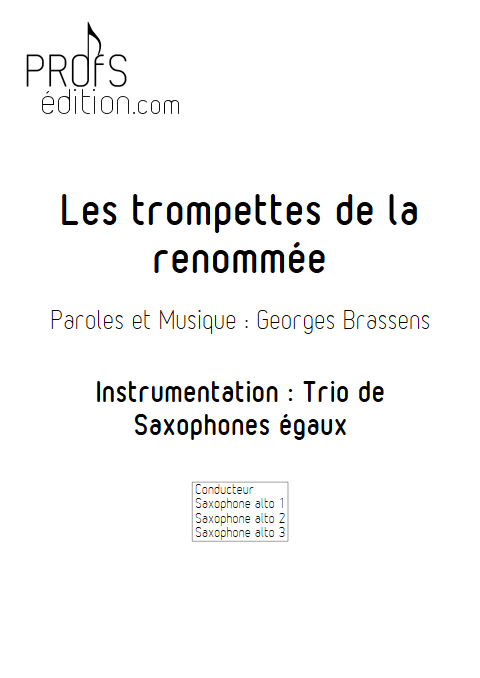 Les trompettes de la renommée - Trio de Saxophones égaux - BRASSENS G. - front page
