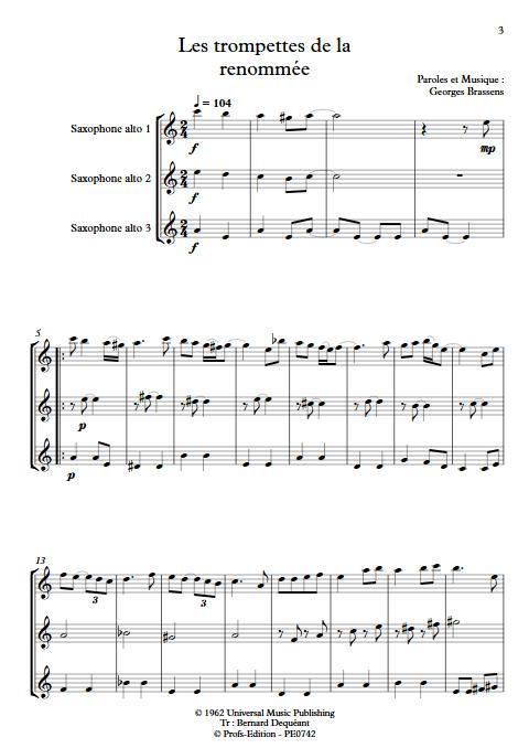 Les trompettes de la renommée - Trio de Saxophones égaux - BRASSENS G. - app.scorescoreTitle