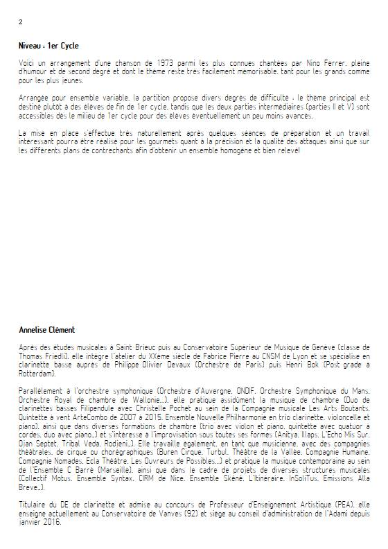 Les Cornichons - Ensemble Variable - BOOKER J. - Educationnal sheet