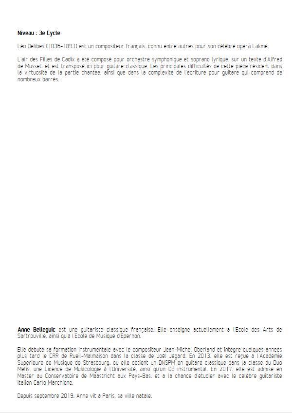 Les Filles de Cadix - Guitare et Voix - DELIBES L. - Educationnal sheet
