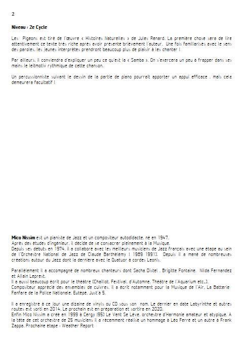 Les Pigeons - Chœur et Piano - NISSIM M. - Educationnal sheet