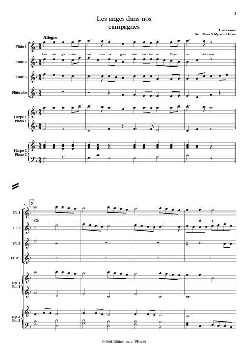 Les anges dans nos campagnes - Ensemble de flûtes et 2 harpes - TRADITIONNEL FRANÇAIS - app.scorescoreTitle