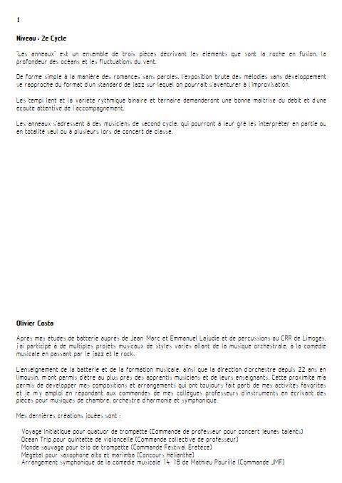Les Anneaux - Instrument & Piano - COSTA O. - Educationnal sheet
