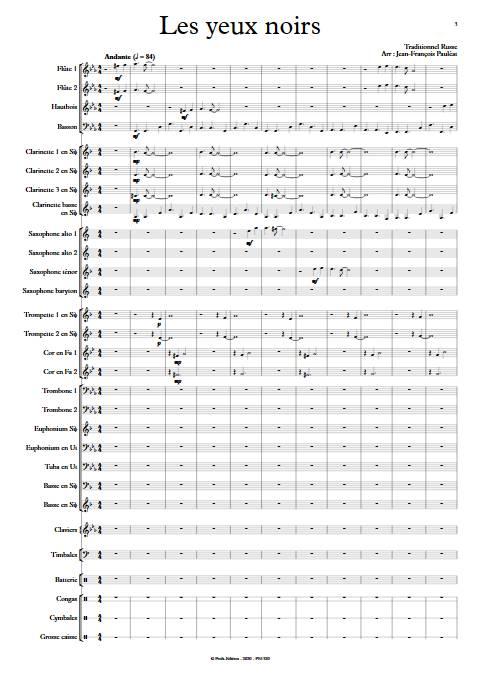 Les yeux noirs - Orchestre d'Harmonie - TRADITIONNEL RUSSE - app.scorescoreTitle