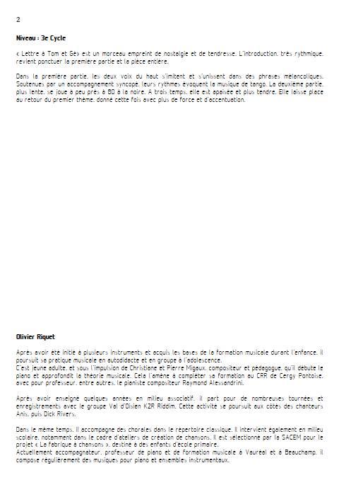 Lettre à Tom et Gé - Trio - RIQUET O. - Educationnal sheet