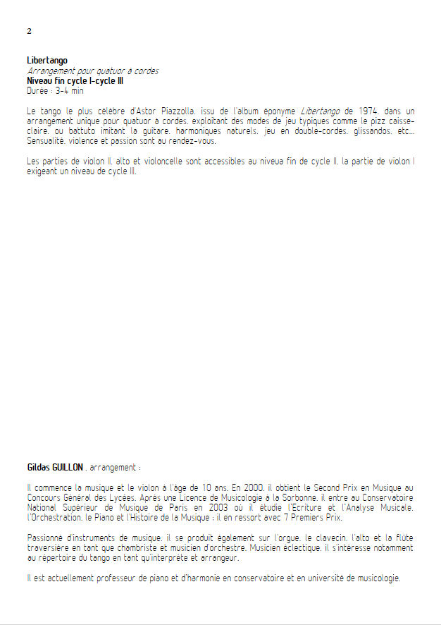 Libertango - Quatuor à Cordes - PIAZZOLLA A. - Educationnal sheet