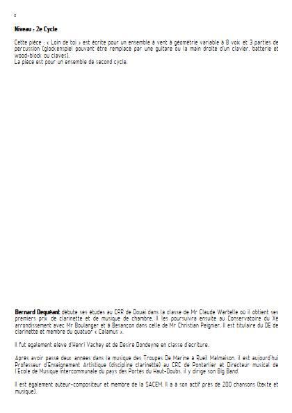 Loin de toi - Ensemble Variable - DEQUEANT B. - Educationnal sheet