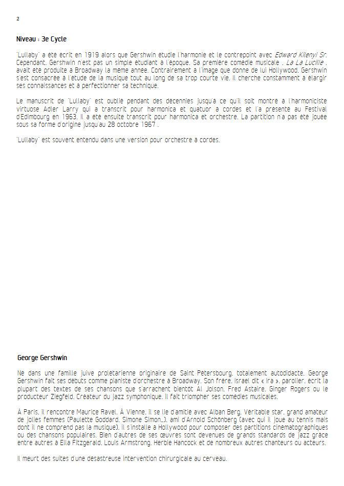 Lullaby - Quatuor à Cordes- GERSHWIN G. - Educationnal sheet