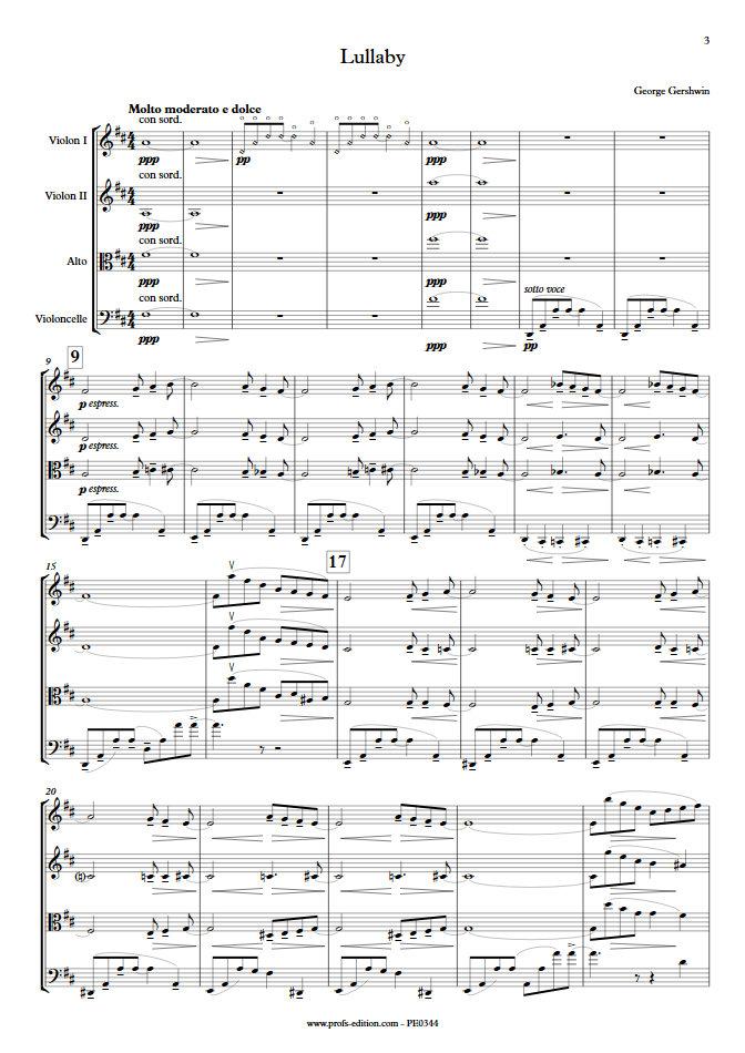 Lullaby - Quatuor à Cordes- GERSHWIN G. - app.scorescoreTitle