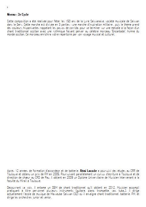 Lyre d'or - Orchestre d'Harmonie - LACOSTE R. - Educationnal sheet